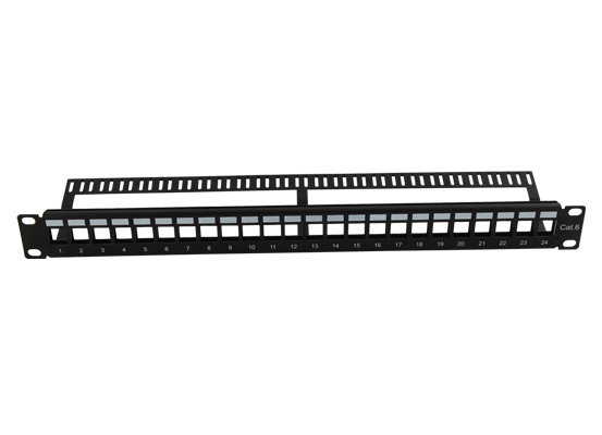 1U 24 Port Blank Patch Panel Metal With Back Bar